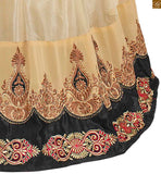 Image of Violet and cream semi-georgette kerry style embroidered salwar kameez with matching santoon bottom