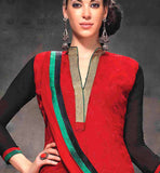 AWESOME EMBROIDERY WORK LONG STRAIGHT CUT KAMEEZ WITH CHIFFON DUPATTA