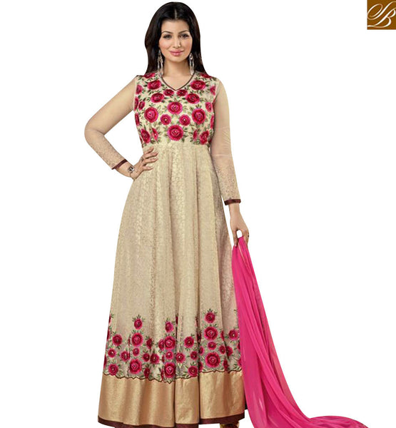 STYLISH BAZAAR ATTRACTIVE BEIGE COLORED AYESHA TAKIA GEORGETTE EMBROIDERED DESIGNER ANARKALI SALWAR SUIT AASH5004