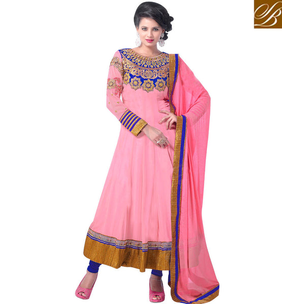 PLEASING PINK GEORGETTE ANARKALI SUIT RTCN5004 -stylishbazaar - Diwali Shopping, Deepawali Shopping, Diwali 2014, Festive Trends 2014, Ganesh Chaturthi, Navratri, New Year, Nav Varsh, Bhai Bij, Bhai Duj, Raksha Bandhan, Garba, Dandia, Churidar Dresses, online churidar shopping, Churidar Suits, churidar designs, Indian Churidar Dresses, churidar materials