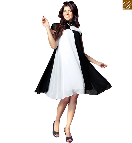 STYLISH BAZAAR TRENDY OFF WHITE & BLACK COLORED CASUAL WEAR KURTI RTTK5004