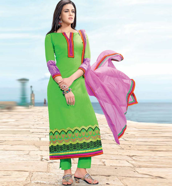 GORGEOUS GREEN COTTON EMBROIDERED DRESS MATERIAL WITH PRINTED BACK