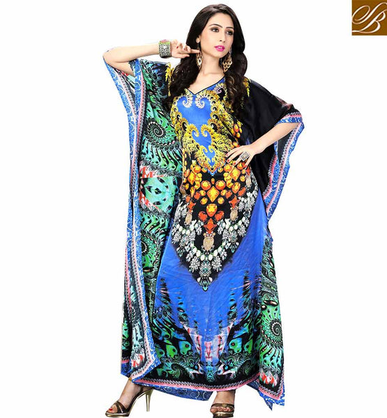 A STYLISH BAZAAR PRESENTATION AMAZING PARTY STYLE DIGITAL PRINTED KAFTAN SKKF5004