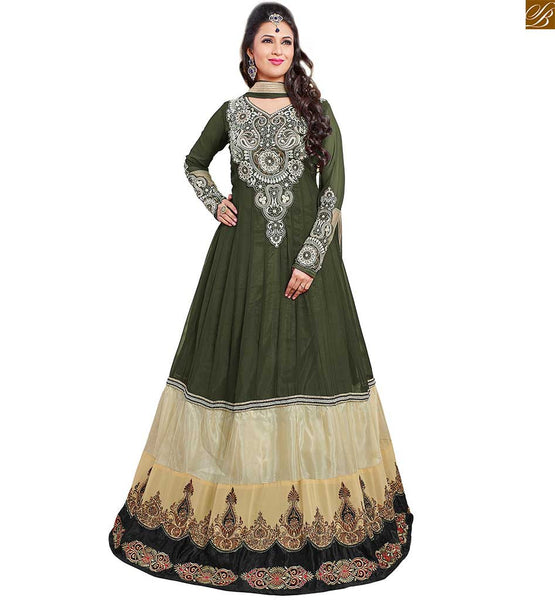 Image of Latest pakistani dresses salwar kameez boutique party suit set green and cream semi-georgette heavy stone work kameez and long sleeve with green santoon bottom