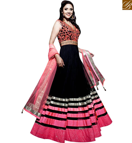 STYLISH BAZAAR BEAUTIFUL BLACK GEORGETTE DESIGNER ANARKALI SALWAR KAMEEZ WITH PINK NET DUPATTA ABYSW5005