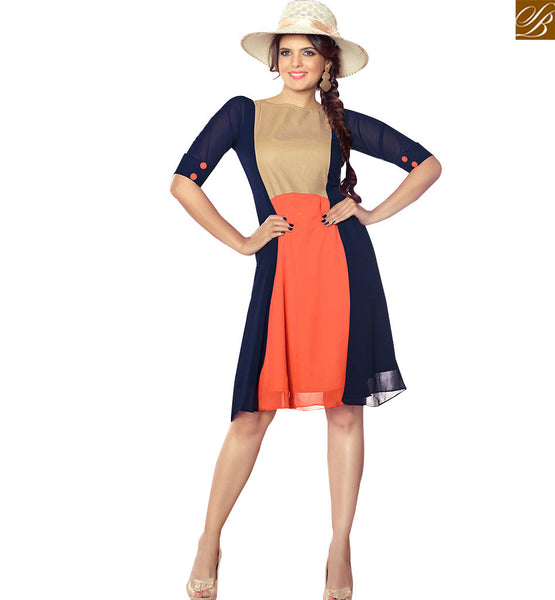 STYLISH BAZAAR STRIKING BLUE AND ORANGE COLORED GEORGETTE KURTI RTTK5005