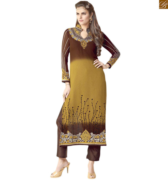 Pretty design of salwar suit kameez designs of indian dress chikoo-brown georgette heavy embroidered back neck design salwar kameez with chikoo brocket bottom Image