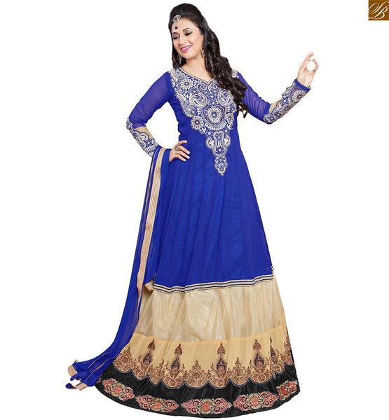 Image of Long kameez with salwar designs 2015 hottest dress blue and cream semi-georgette heavy embroidered kameez with long sleeve having blue santoon simple bottom