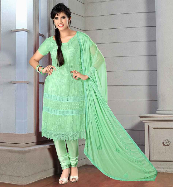 ONLINE SHOPPING FOR SIMPLE STYLISH SALWAR SUITS  GORGEOUS GREEN CHIFFON DRESS WITH MATCHING SANTOON SALWAR AND DUPATTA
