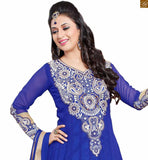Photo of Outstanding long kameez with salwar designs 2015 hottest dress for every special moment blue and cream semi-georgette heavy embroidered kameez with long sleeve having blue santoon simple bottom