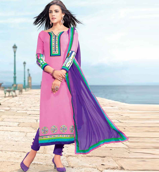 IRRESISTIBLE PINK COTTON EMBROIDERED DRESS MATERIAL WITH PRINTED BACK STYLISHBAZAAR