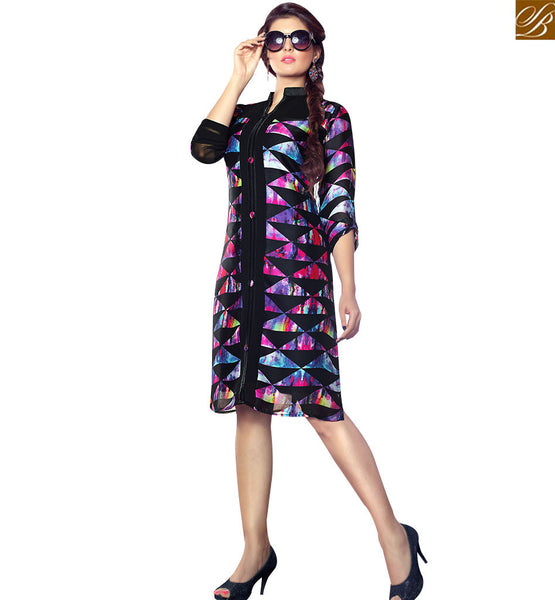 STYLISH BAZAAR STUNNING BLACK COLORED PARTY WEAR KURTI RTTK5006