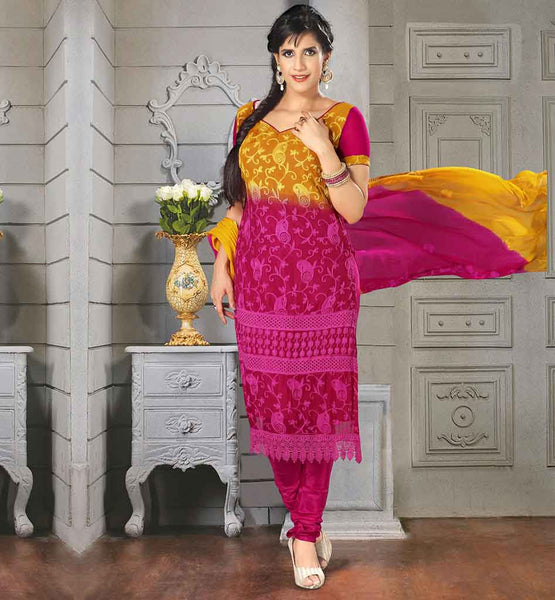 2015 FASHION TRENDY SALWAR SUITS ONLINE SHOPPING  STUNNING ORANGE AND PINK SHADED CHIFFON DRESS WITH SANTOON SALWAR AND DUPATTA