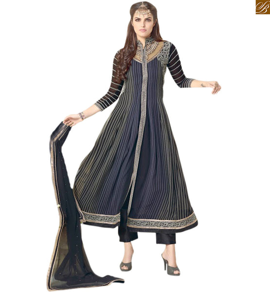 Cute churidar neck design catalogue kurta salwar suit designs blue and grey georgette three fourth embroidered sleeves salwar kameez with grey brocket bottom Image