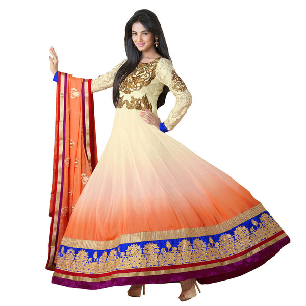 Cream with Gold and Orange frock style salwar suit with dupatta Timeless Collection 1057