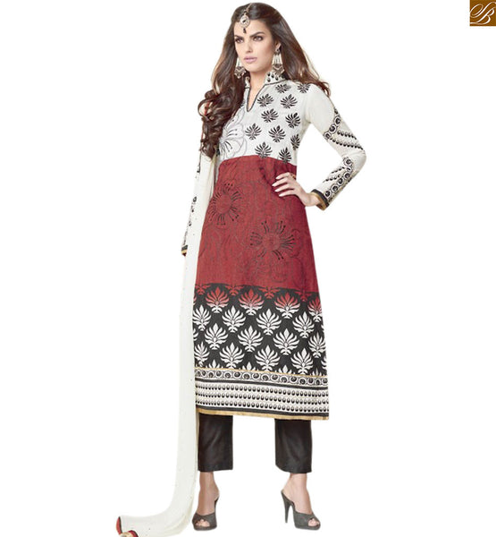 Cute dresses pakistani long dress hot salwar kameez online off-white, red and black georgette simple and sober floral embroidered dress with black brocket bottom Image