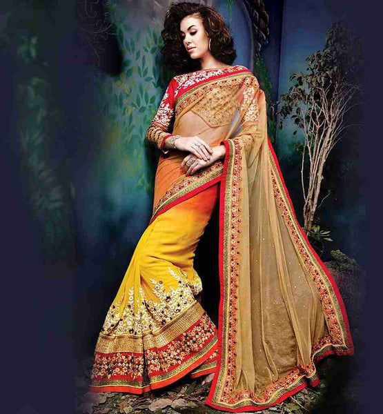 SAREE BLOUSE DESIGNS SHADED WEDDING SARI WITH DESIGNER FANCY CHOLI