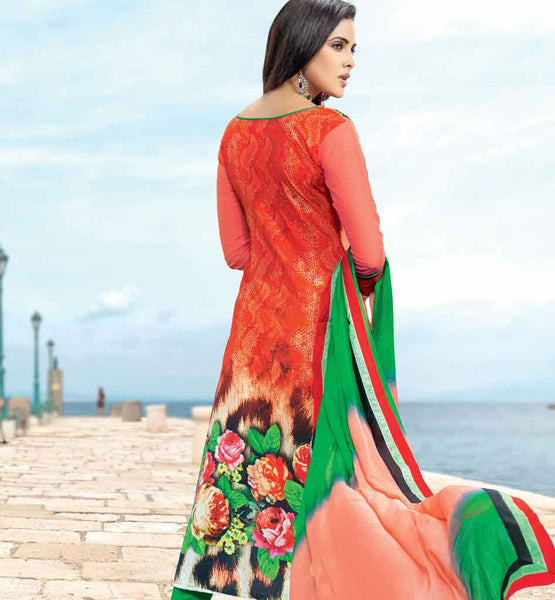 MESMERIZING RED COTTON EMBROIDERED DRESS MATERIAL WITH PRINTED BACK