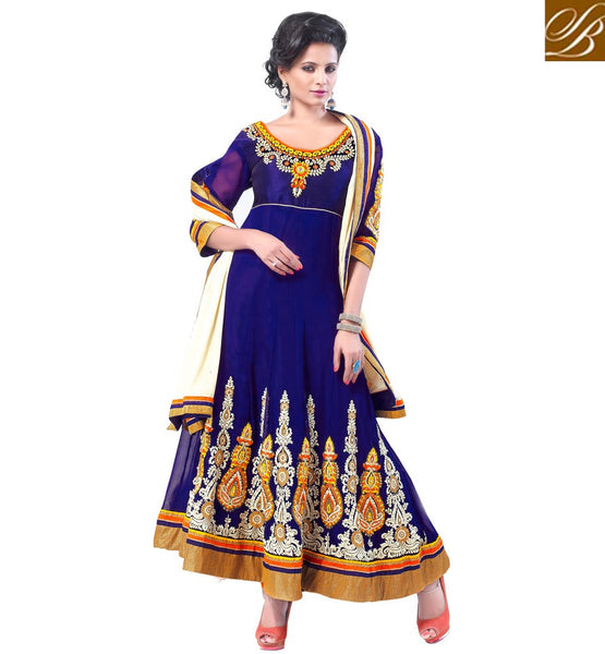 BEWITCHING BLUE GEORGETTE ANARKALI SUIT RTCN5008 -stylishbazaar - Diwali Shopping, Deepawali Shopping, Diwali 2014, Festive Trends 2014, Ganesh Chaturthi, Navratri, New Year, Nav Varsh, Bhai Bij, Bhai Duj, Raksha Bandhan, Garba, Dandia, salwar kameez online, designer salwar suits, online salwar kameez, party dresses india, party wear dresses