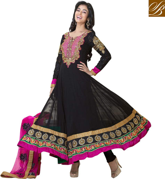 BOLLYWOOD ACTRESS SONAL CHAUHAN BLACK GEORGETTE ANARKALI SALWAR KAMEEZ