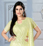 LOVELY LEMON CHIFFON DRESS WITH MATCHING SANTOON SALWAR AND DUPATTA THIS EXCITING DRESS HAS