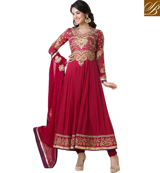 BEAUTIFUL ACTRESS SONAL CHAUHAN PINK GEORGETTE SALWAR KAMEEZ