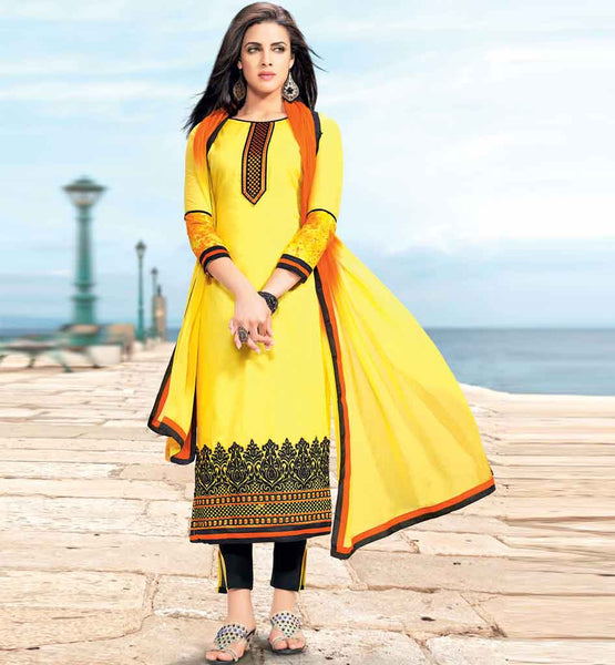 STRIKING YELLOW COTTON EMBROIDERED DRESS MATERIAL WITH PRINTED STYLISHBAZAAR