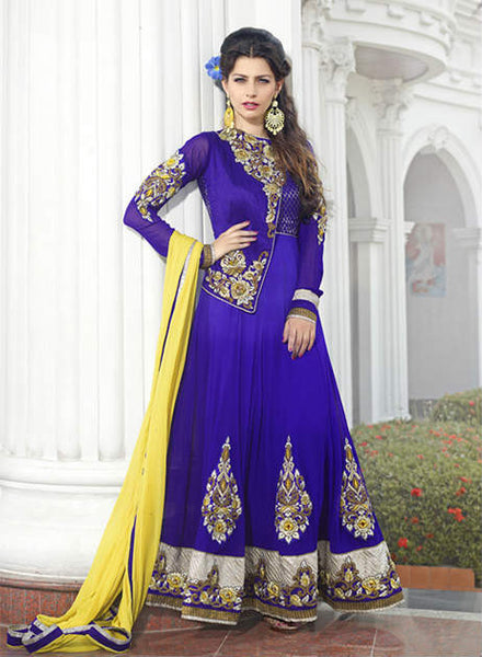 Blue Pure Georgette Wedding wear handwork Anarkali