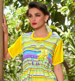 DAILY WEAR PRINTED DESIGNER TOP WITH FLORAL DESIGNS SUPERB SHORT SLEEVE KNEE HEIGHT TUNIC