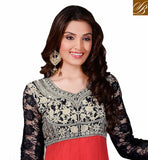 RED AND BLACK MARRIAGE PARTY WEAR ANARKALI WITH BLUE DUPATTA