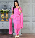 SALWAR SUIT ONLINE SHOPPING PAY CASH ON DELIVERY  PLEASING PINK CHIFFON DRESS WITH MATCHING SANTOON SALWAR AND DU