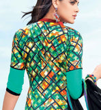 GORGEOUS GREEN COTTON EMBROIDERED DRESS MATERIAL WITH PRINTED BACK STYLISHBAZAAR SHOP