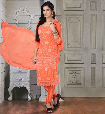TRENDY CHIFFON SALWAR KAMEEZ ONLINE SHOPPING IRRESISTIBLE ORANGE CHIFFON DRESS WITH MATCHING SANTOON SALWAR AND DUPATTA