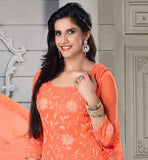 IRRESISTIBLE ORANGE CHIFFON DRESS WITH MATCHING SANTOON SALWAR AND DUPATTA THIS INTERESTING OUTFIT HAS FLORAL DESIGN RESHAM THREADWORK ALL OVER AS WELL AS CROSIA LACE ON HEMLINE TO IMPROVE THE LOOKS
