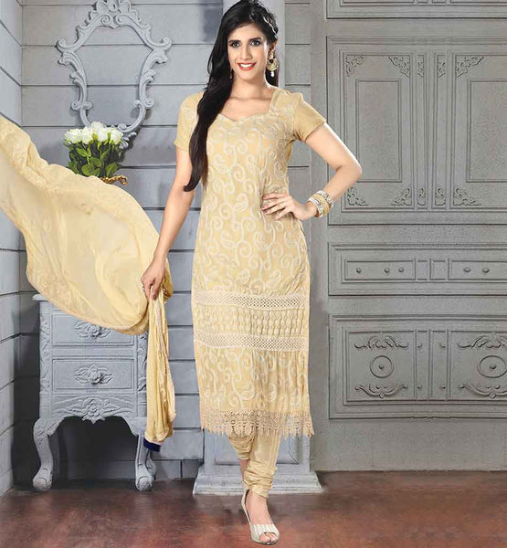 ONLINE SHOPPING FOR INDIAN WOMEN SALWAR KAMEEZ CLASSY CREAM CHIFFON DRESS WITH MATCHING SANTOON SALWAR AND DUPATTA