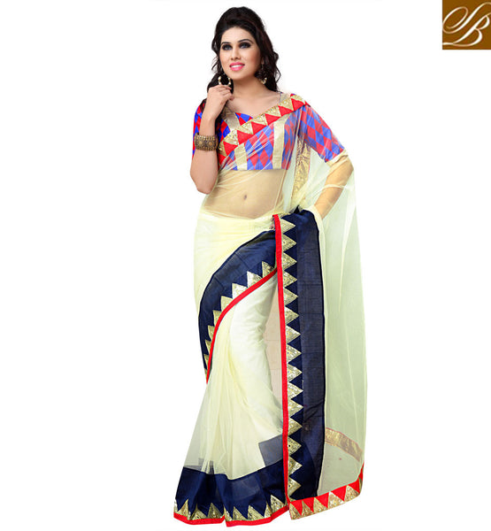 everystlish designer off white party wear saree online shopping India