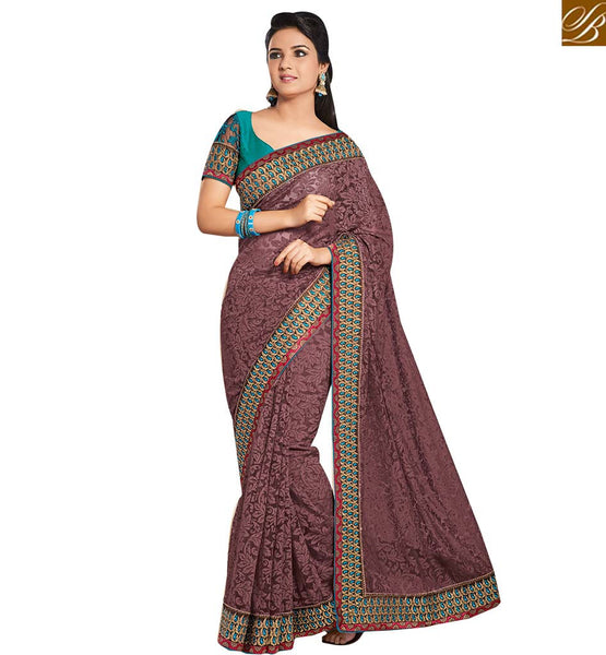 STYLISH BAZAAR PRESENTS GORGEOUS DESIGNER PINK SAREE MATCHED WITH PURPLE BLOUSE RTHTS5014