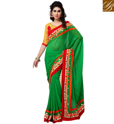 everystlish designer green party wear saree online shopping India