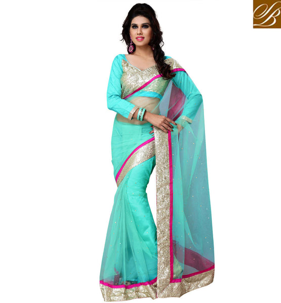 everystlish designer sky blue party wear saree online shopping India