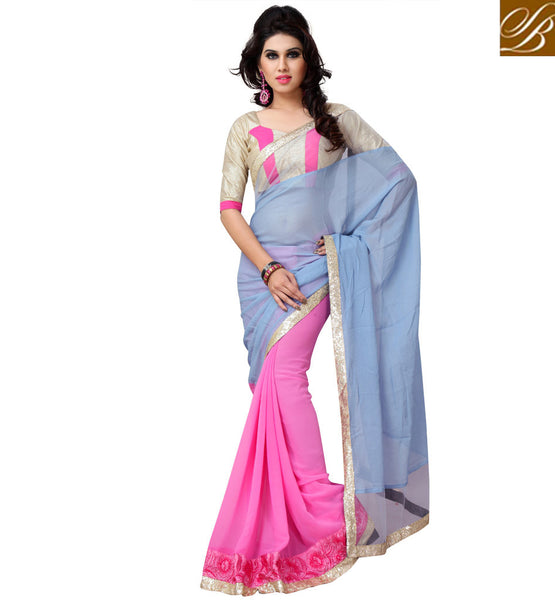 everystlish designer blue & pink party wear saree online shopping India