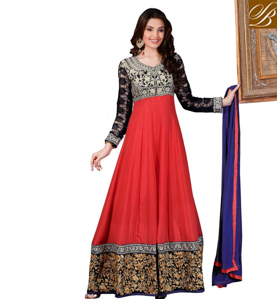 STUNNING FULL LENGTH DESIGNER WEDDING PARTY WEAR ANARKALI DRESS