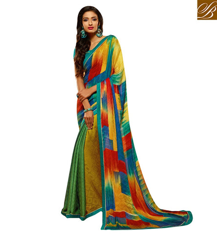 GOOD-LOOKING COLORFUL PRINTED SAREE BLOUSE DESIGN HAW501 BY MUSTARD AND GREEN