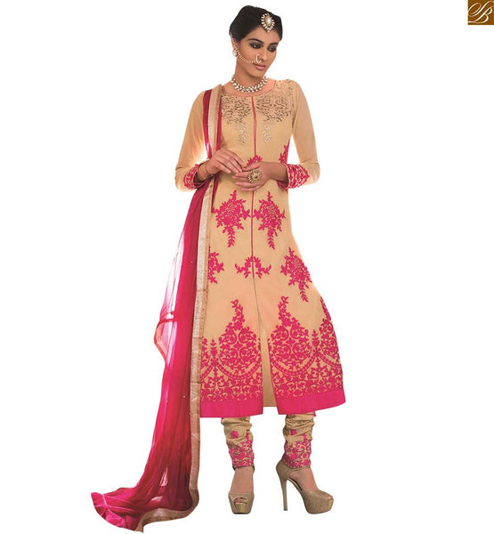 BEIGE COLORED LONG JACKET STYLE DESIGNER LEHENGA VDAAR502