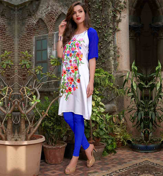 NEW SHIRT DESIGN FOR COLLEGE GOING INDIAN GIRLS CASUAL LOOK OFF WHITE KURTHI WITH MULTI COLOR FLORAL PRINTED MOTIF