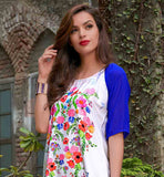 CASUAL LOOK OFF WHITE KURTHI WITH MULTI COLOR FLORAL PRINTED MOTIF ONLINE KURTIS FOR SALE INDIAN TOPS FOR WOMEN