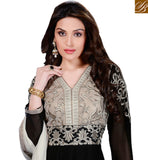 EXCELLENT FULL LENGTH BLACK ANARKALI WITH OFF-WHITE DUPATTA