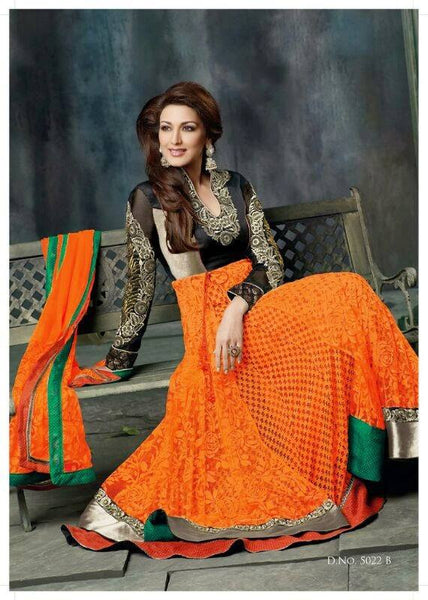 Sonali Bendre Hot Orange Net Anarkli Dress
