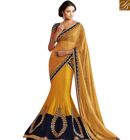 STYLISH BAZAAR SHOP MUSTARD BHAGALPURI SILK AND GEORGETTE EMBROIDERED SAREE WITH LEHENGA STYLE FROM STYLISH BAZAAR NKEVR5023
