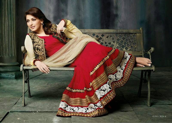 Sonali Bendre Maroon Anarkli with Brown jacket