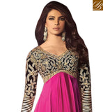PRIYANKA CHOPRA PINK SATIN SALWAR SUIT JNHR5029 - StylishBazaar - Priyanka Chopra, Priyanka Chopra Collection, buy Anarkali Dress online, anarkali dress online shopping in india, buy anarkali suits online, anarkali dress designs, latest designer anarkali suits
